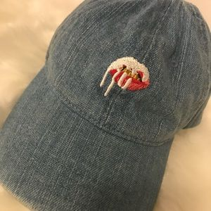 kylie jenner shop Accessories - Denim Lips dad hat by KYLIE JENNER SHOP 5a3dfd6a3afe